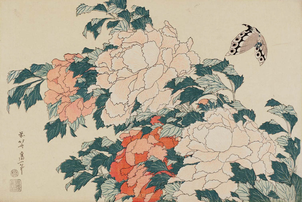 Peonies and Butterfly - By Hokusai (1830)