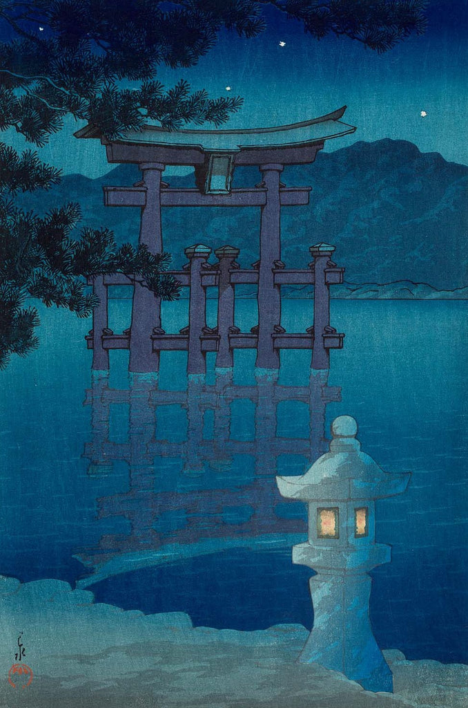 Starlit night at Miyajima by Kawase Hasui