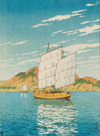 Ship in Bingo District - 1923 - Print by Kawase Hasui