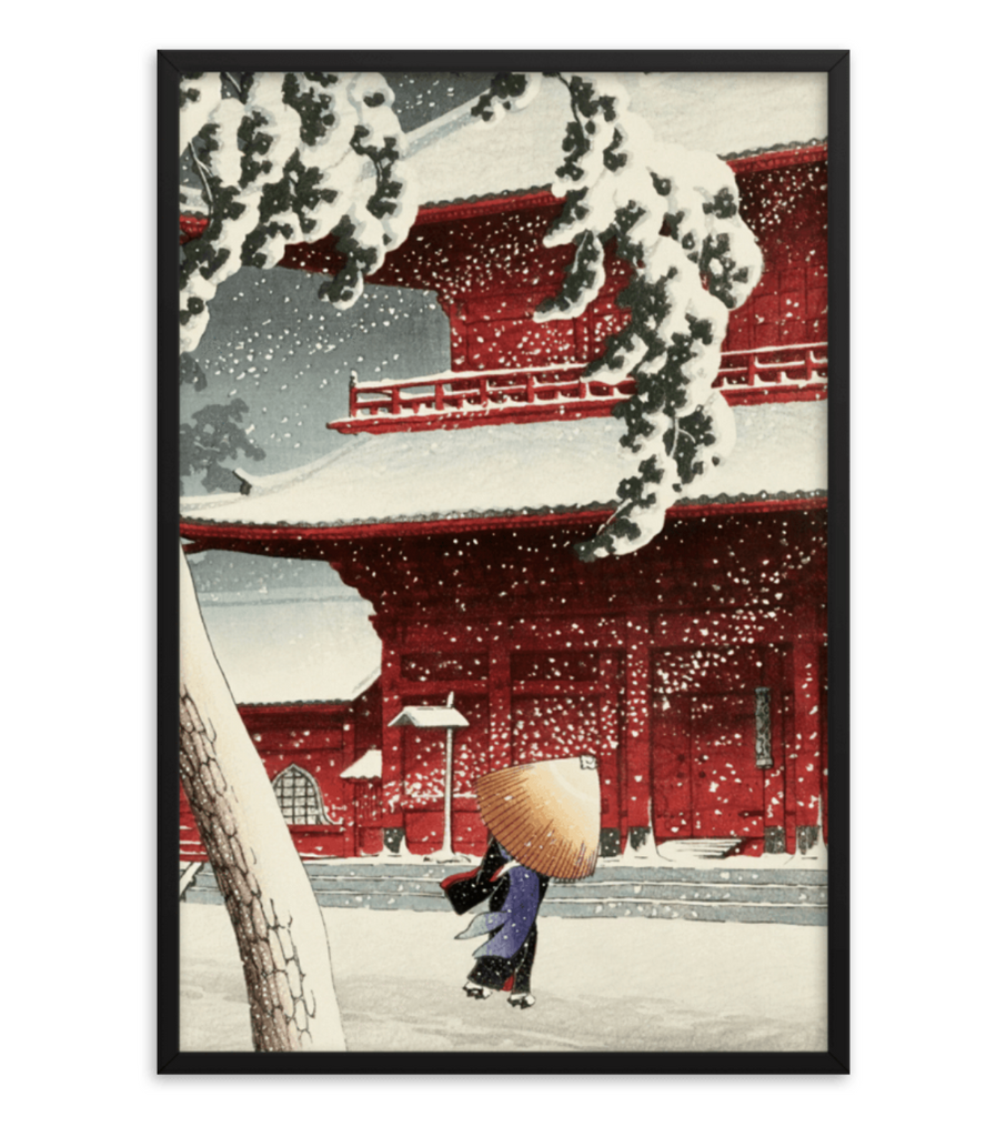 Snow at Zojoji Temple by Kawase Hasui