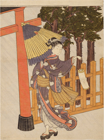 """Woman Visiting Shrine at Night"" - Harunobu"