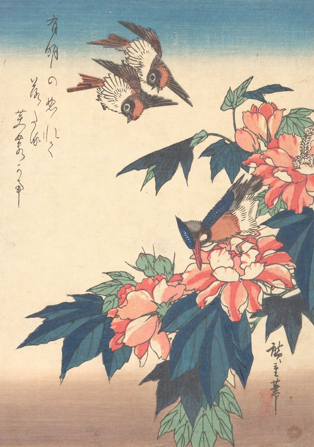 Swallows and Kingfisher with Rose Mallows (1838) by Hiroshige