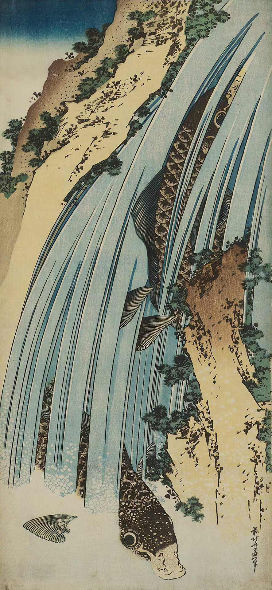 Two Carp in Waterfall (1834) by Hokusai