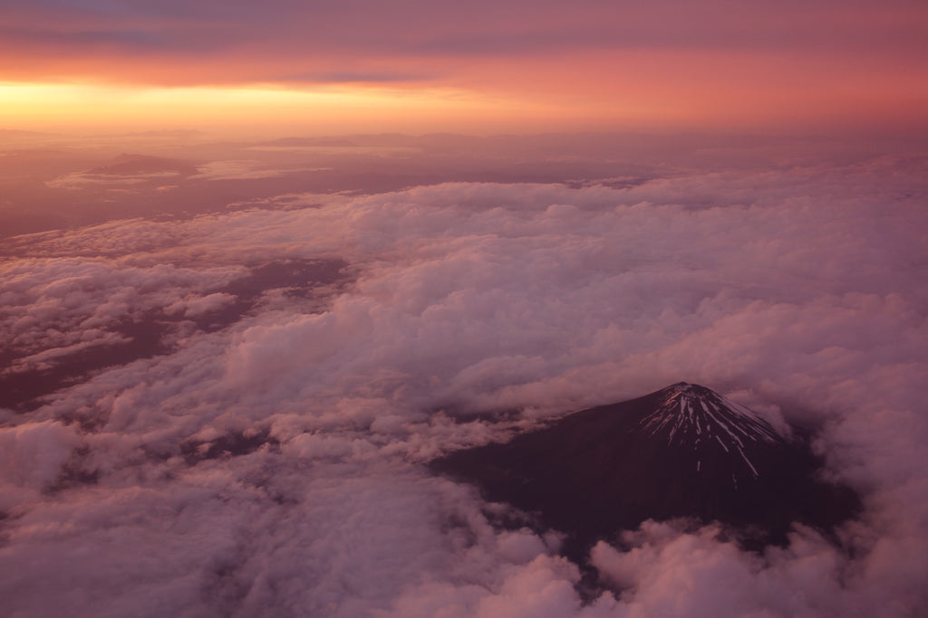 Mount Fuji as seen from above while flying