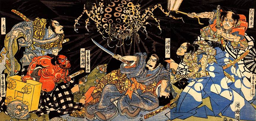 The Earth-Spider and his demons attacking the sick Raikô and his retainers - Untitled by Utagawa Kuniyoshi