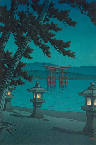 Starlit night at Miyajima - Print by Kawase Hasui