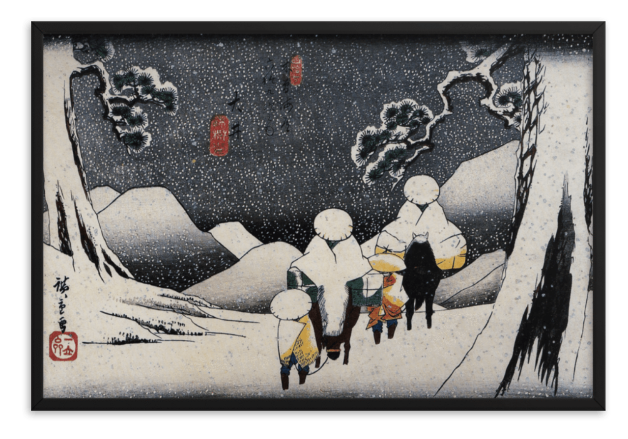 Travellers on Horseback in the Snow by Hiroshige