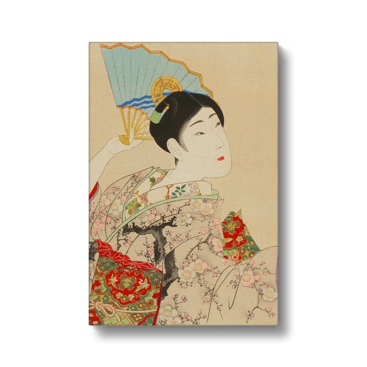 Shin Bijin, Beauty With A Fan (1897-98) - Canvas Black Frame
