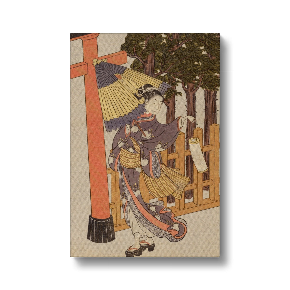 Woman Visiting Shrine At Night (Edo Period) - Canvas