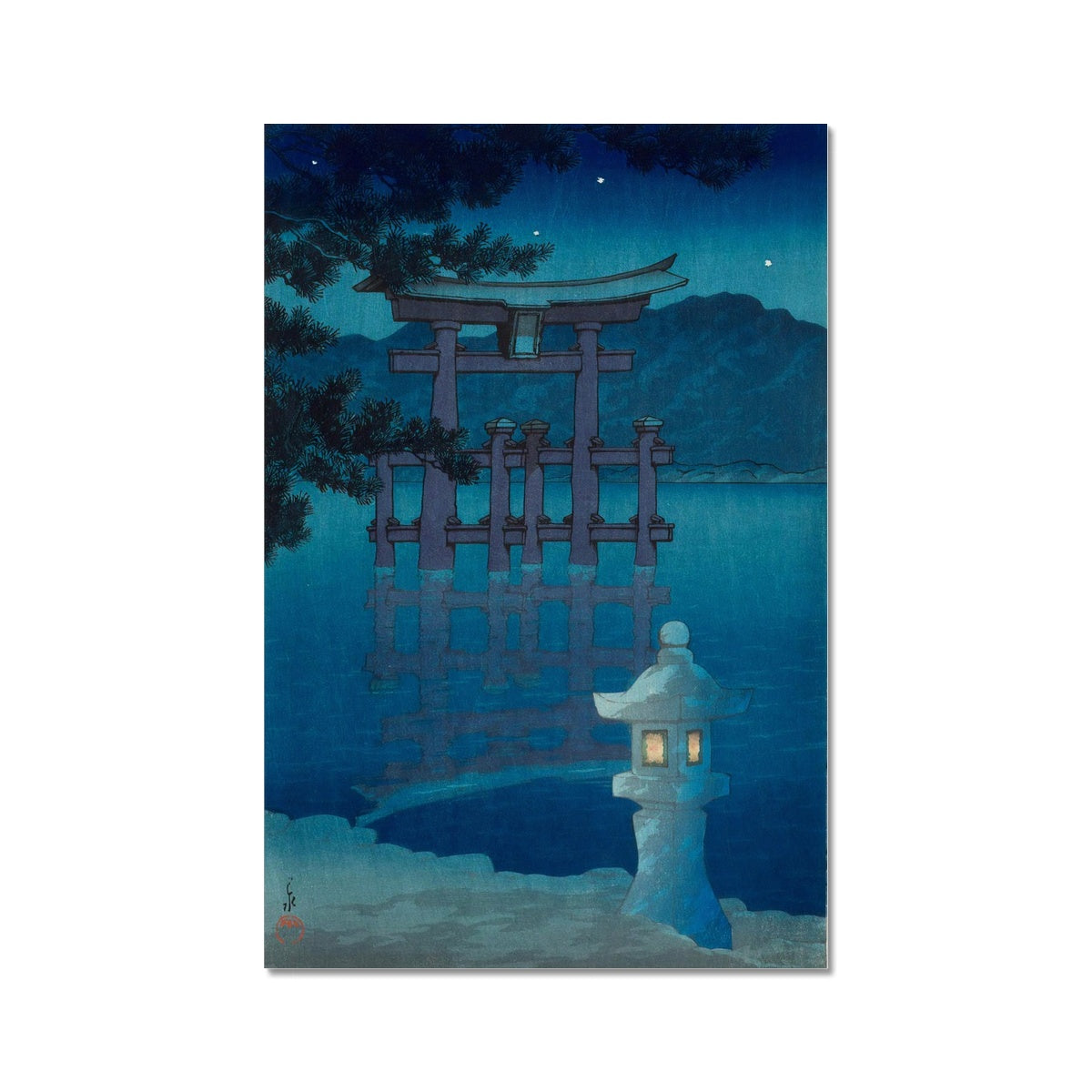 Starry Night at Miyajima Shrine (1928) - Fine Art Print
