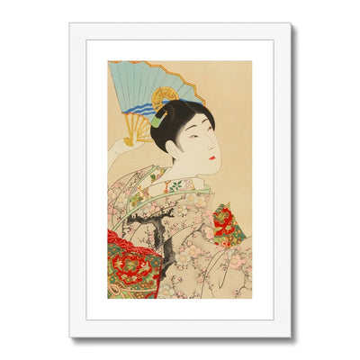 Shin Bijin, Beauty With A Fan (1897-98) - Framed & Mounted Print