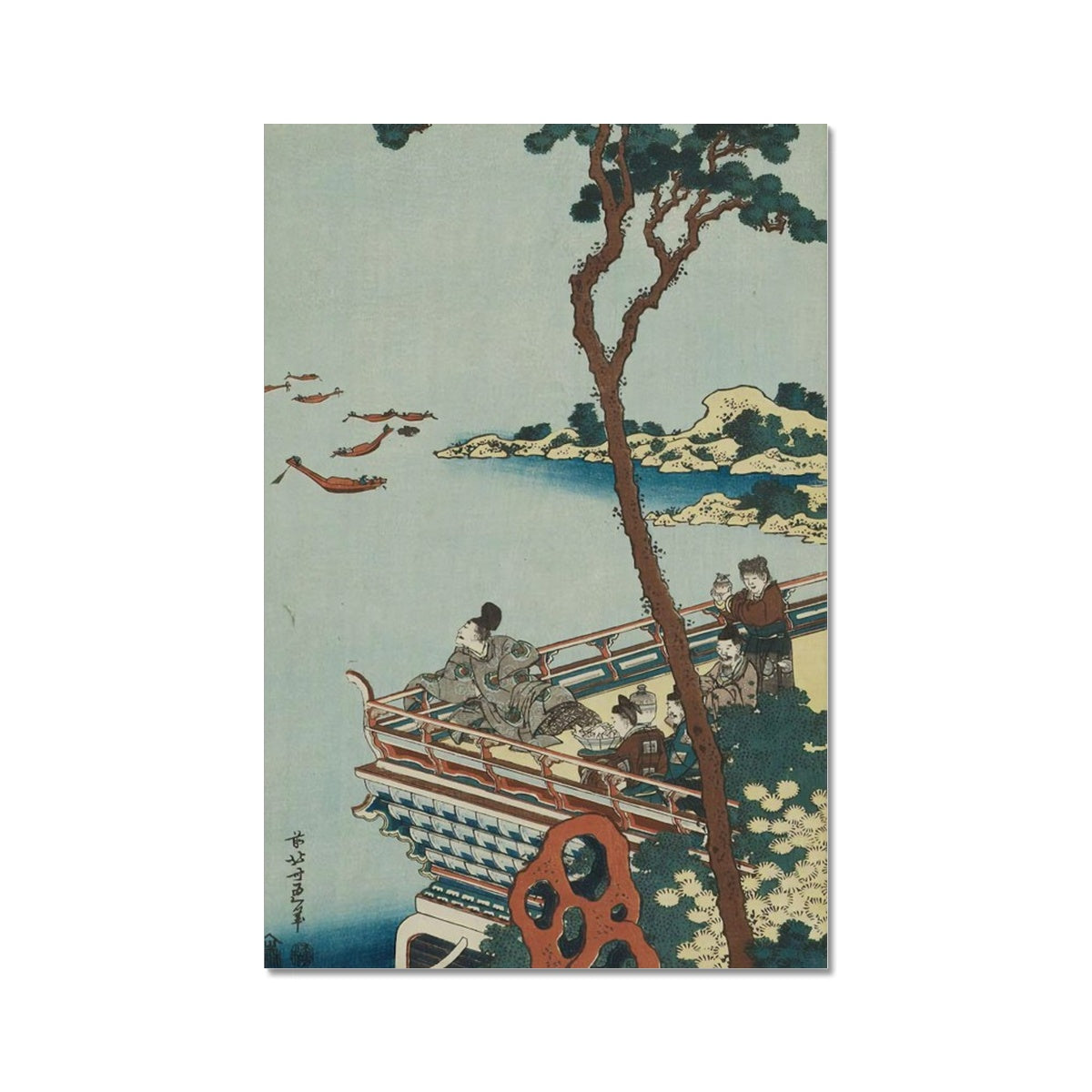Abe no Nakamaro Gazing At The Moon From A Terrace (1833) - Fine Art Print