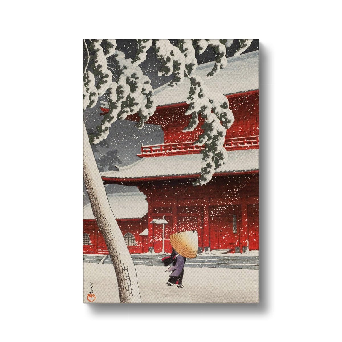 Snow at Zojoji Temple, Shiba (1925) - Canvas Black Frame