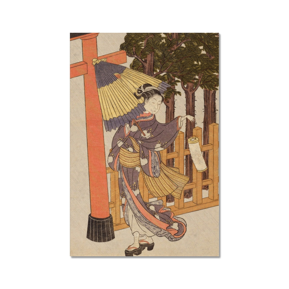 Woman Visiting Shrine At Night (Edo Period) - Fine Art Print