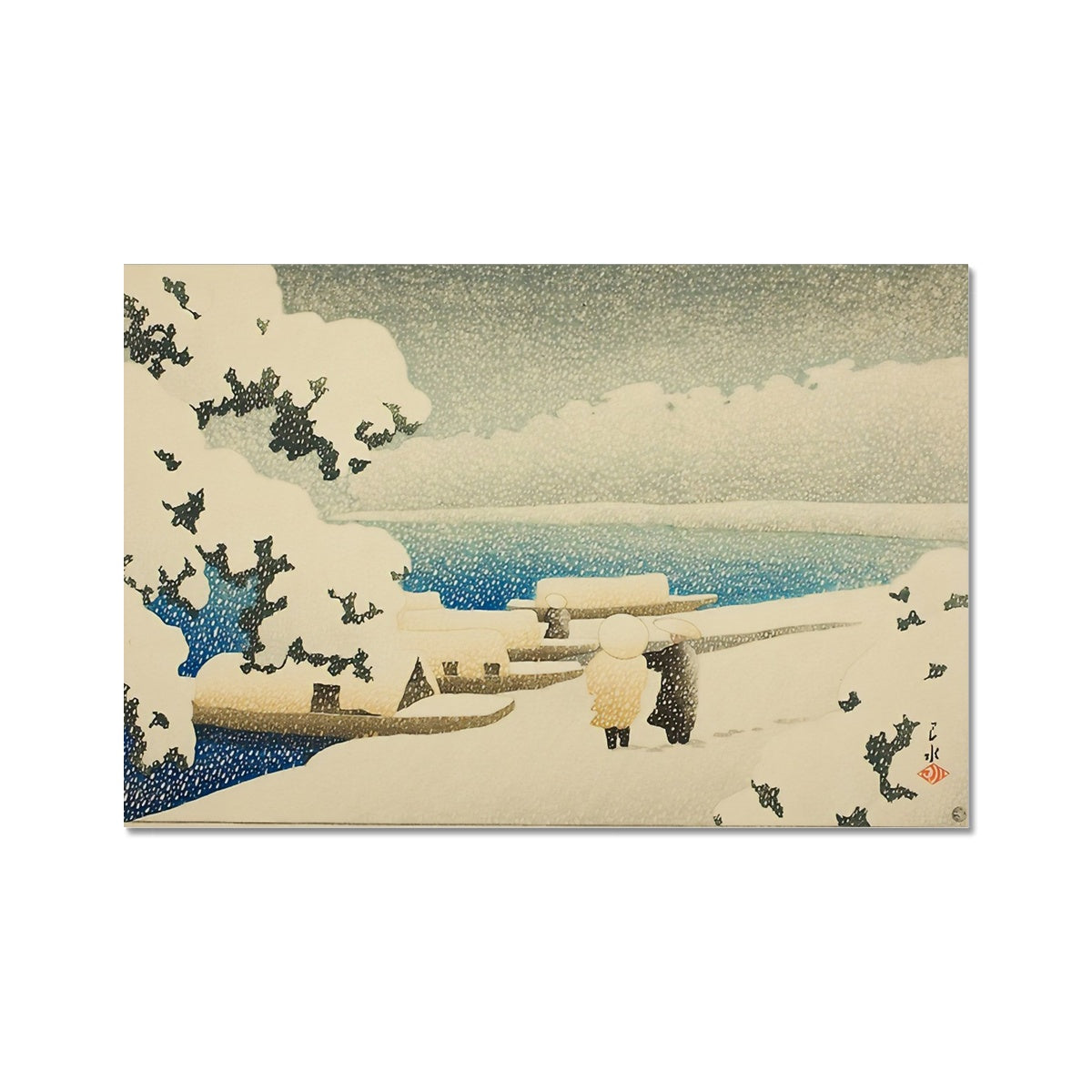 Snow at Amanohashidate (1921) - Fine Art Print