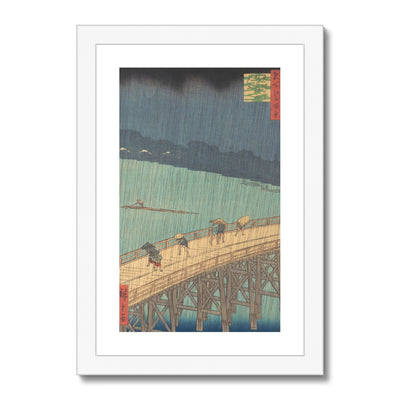 Sudden Shower over Shin-Ōhashi Bridge and Atake (Ōhashi Atake no yūdachi), from the series One Hundred Famous Views of Edo (1857) - Framed & Mounted Print