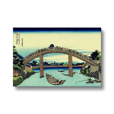 Under Mannen Bridge At Fukagawa - Canvas Black Frame