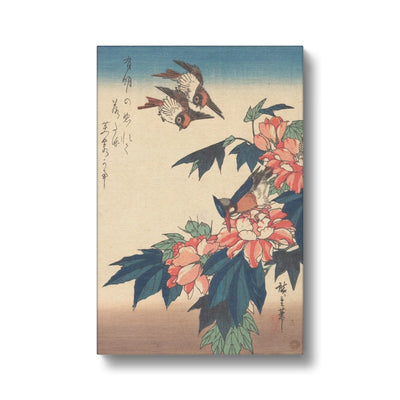 Swallows and Kingfisher with Rose Mallows (1838) - Canvas Black Frame