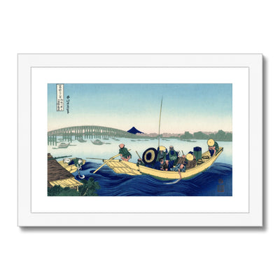 Sunset Across The Ryōgoku Bridge From The Bank Of The Sumida River At Onmayagashi - Framed & Mounted Print