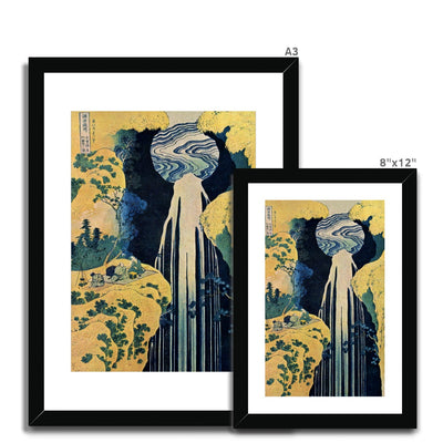 The Amida Falls in the Far Reaches of the Kisokaido Road (1833-34) - Framed & Mounted Print