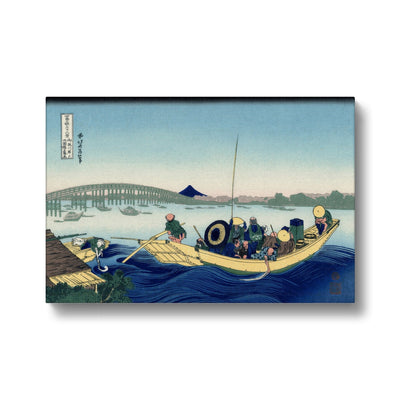 Sunset Across The Ryōgoku Bridge From The Bank Of The Sumida River At Onmayagashi - Canvas Black Frame