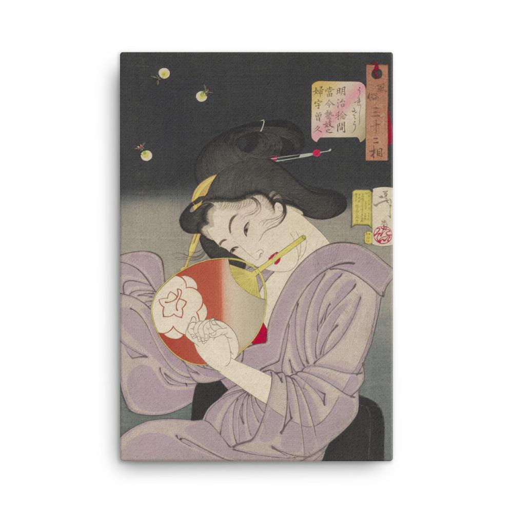 "Delighted, The Appearance of a Geisha Today (1888)-Yoshitoshi-Wall Art-12""x18""-Canvas-Rising Sun Prints"