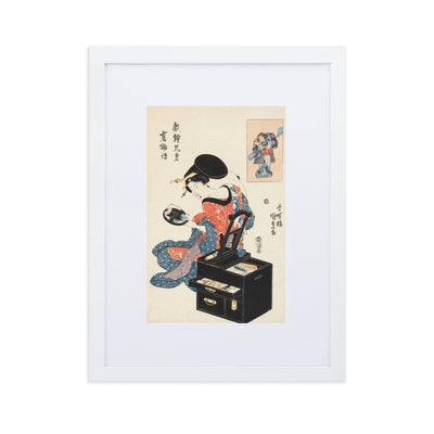 "Takashima Ohisa Using Two Mirrors to Observe Her Coiffure (1795)-Utamaro-Wall Art-12""x18""-Framed Print With Mat-White-Rising Sun Prints"