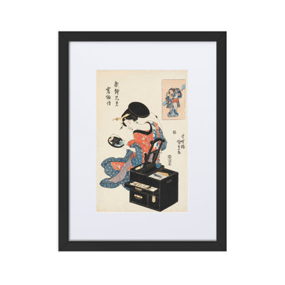 "Takashima Ohisa Using Two Mirrors to Observe Her Coiffure (1795)-Utamaro-Wall Art-12""x18""-Framed Print With Mat-Black-Rising Sun Prints"