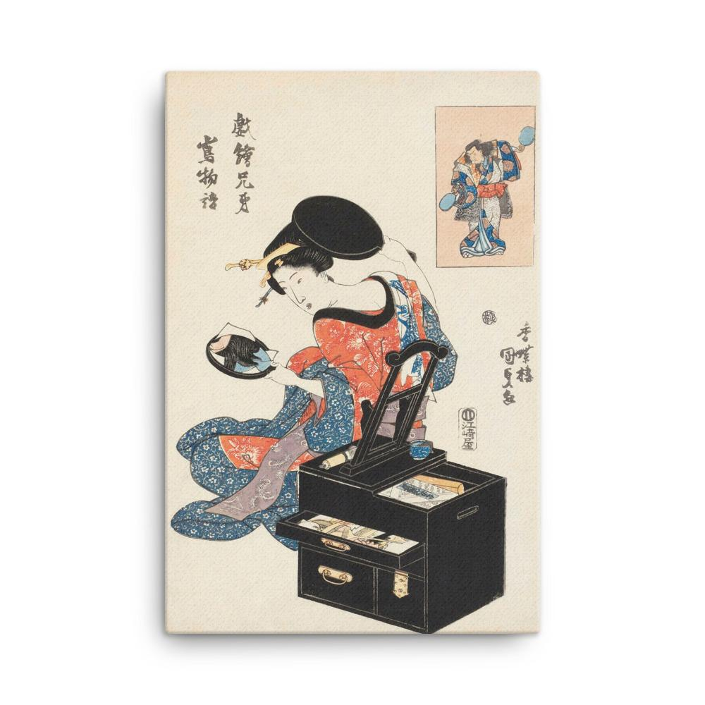 "Takashima Ohisa Using Two Mirrors to Observe Her Coiffure (1795)-Utamaro-Wall Art-12""x18""-Canvas-Rising Sun Prints"