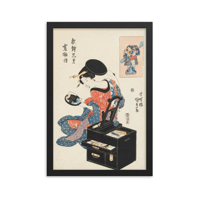 "Takashima Ohisa Using Two Mirrors to Observe Her Coiffure (1795)-Utamaro-Wall Art-12""x18""-Framed Print-Black-Rising Sun Prints"