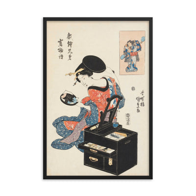 "Takashima Ohisa Using Two Mirrors to Observe Her Coiffure (1795)-Utamaro-Wall Art-24""x36""-Framed Print-Black-Rising Sun Prints"