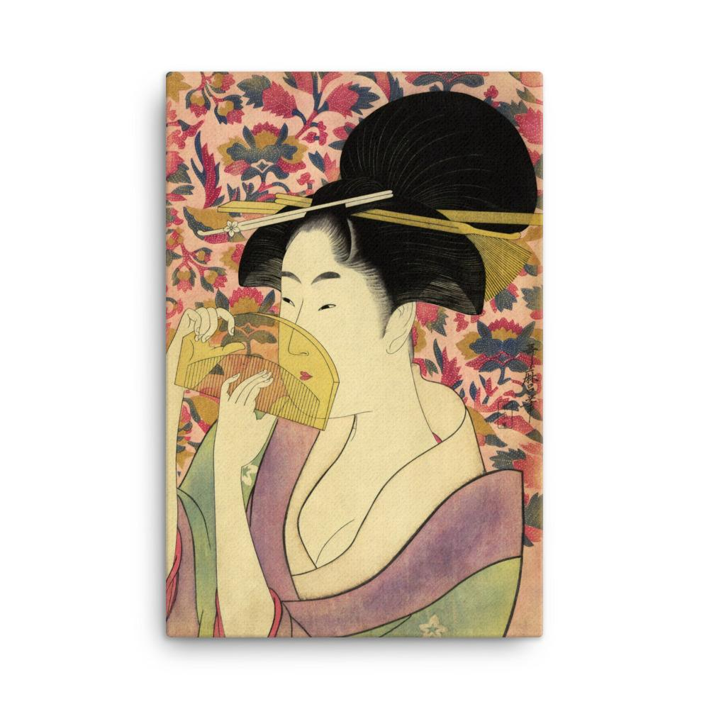 "Woman With Comb-Utamaro-Wall Art-12""x18""-Canvas-Rising Sun Prints"