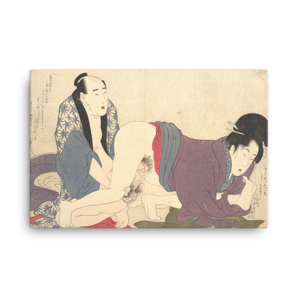 "Untitled Erotic Print (1799)-Utamaro-Wall Art-12""x18""-Canvas-Rising Sun Prints"