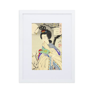 "Spirit of the Plum Tree (1888)-Yoshitoshi-Wall Art-12""x18""-Framed Print With Mat-White-Rising Sun Prints"