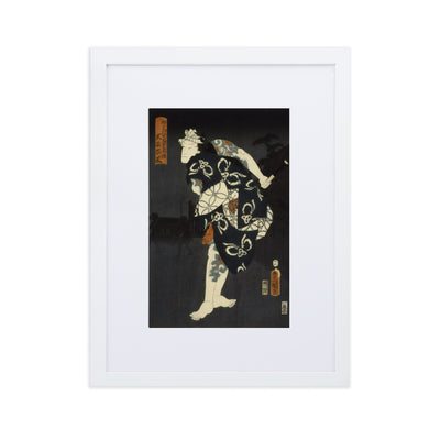 "Kabuki Actor (1858)-Kunisada-Wall Art-12""x18""-Framed Print With Mat-White-Rising Sun Prints"