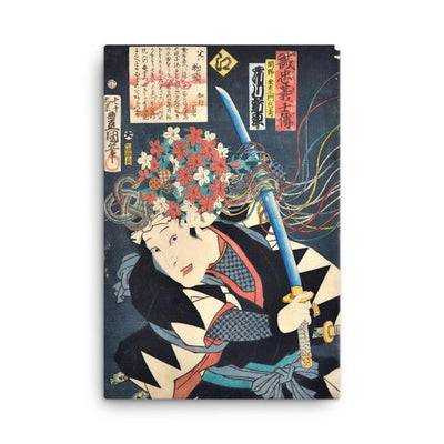 "Ichikawa Shinsha I as Okano Kin'emon Kanehide (1864)-Kunisada-Wall Art-12""x18""-Canvas-Rising Sun Prints"