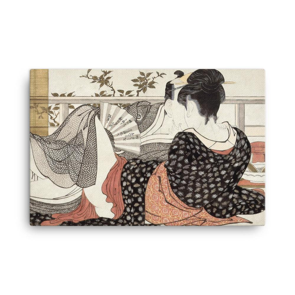 "Poem of the Pillow (1788)-Utamaro-Wall Art-12""x18""-Canvas-Rising Sun Prints"