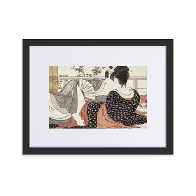 "Poem of the Pillow (1788)-Utamaro-Wall Art-12""x18""-Framed Print With Mat-Black-Rising Sun Prints"