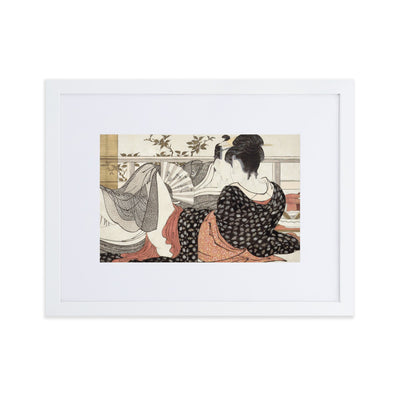 "Poem of the Pillow (1788)-Utamaro-Wall Art-12""x18""-Framed Print With Mat-White-Rising Sun Prints"