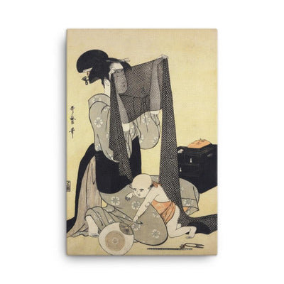 "Woman Sewing (1794-95)-Utamaro-Wall Art-12""x18""-Canvas-Rising Sun Prints"
