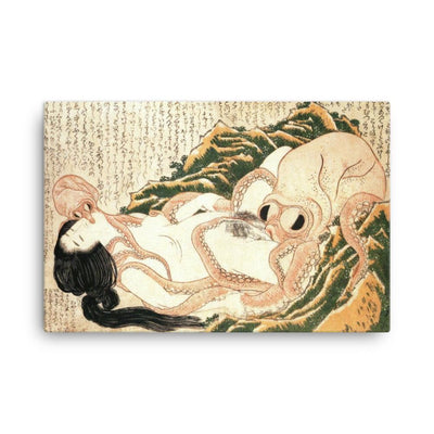 "The Dream of the Fisherman's Wife (1814)-Hokusai-Wall Art-12""x18""-Canvas-Rising Sun Prints"