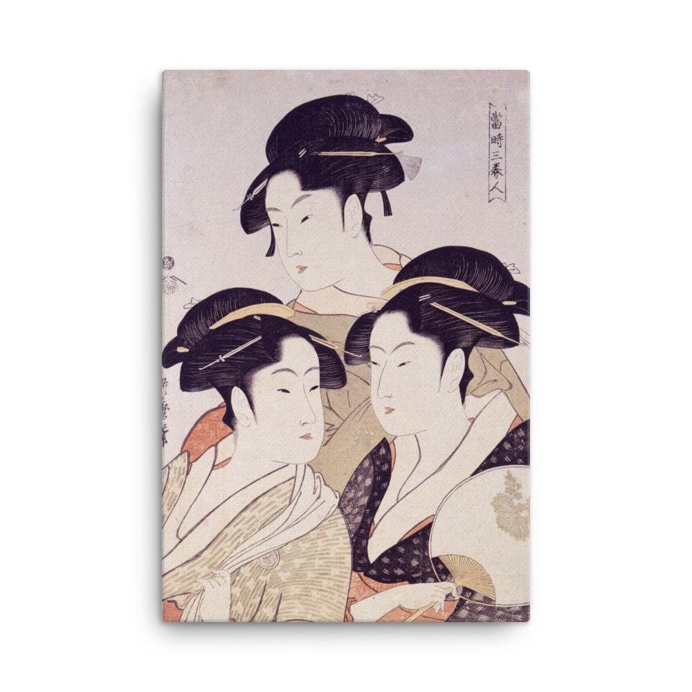 "Three Beauties of the Present Day (1793)-Utamaro-Wall Art-12""x18""-Canvas-Rising Sun Prints"