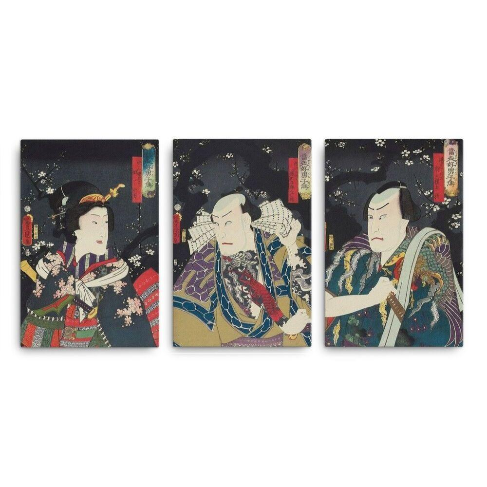 "Arashi Kichisaburô III as Tôken Gonbei, Ichikawa Kodanji IV as Danshichi Kurobei, and Iwai Kumesaburô III as Yakko no Koman (1859)-Kunisada-Wall Art-12""x18""-Canvas-Rising Sun Prints"