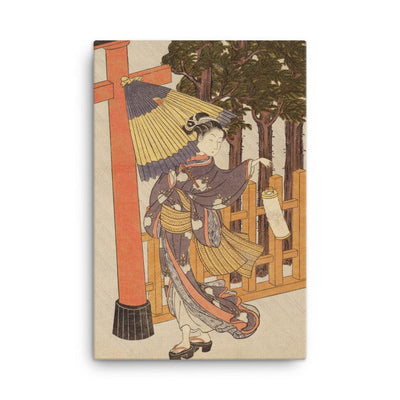 "Woman Visiting Shrine At Night (Edo Period)-Harunobu-Wall Art-12""x18""-Canvas-Rising Sun Prints"