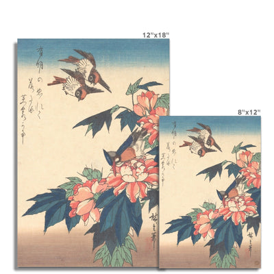 Swallows and Kingfisher with Rose Mallows (1838) - Fine Art Print