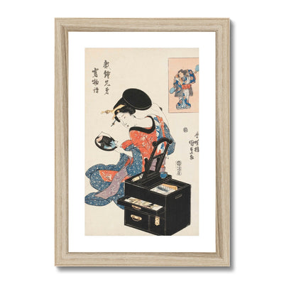 Takashima Ohisa Using Two Mirrors to Observe Her Coiffure (1795) - Framed & Mounted Print