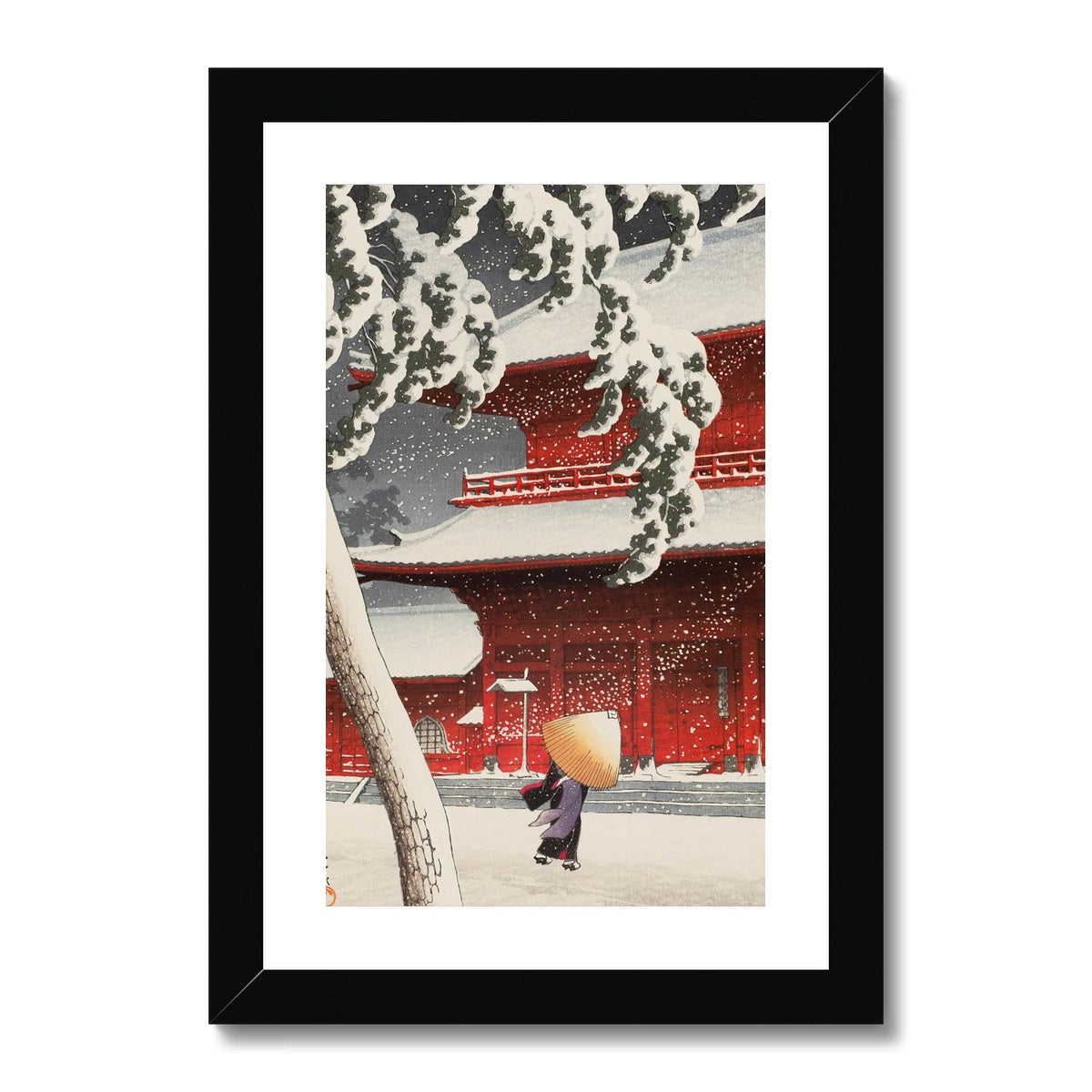 Snow at Zojoji Temple, Shiba (1925) - Framed & Mounted Print