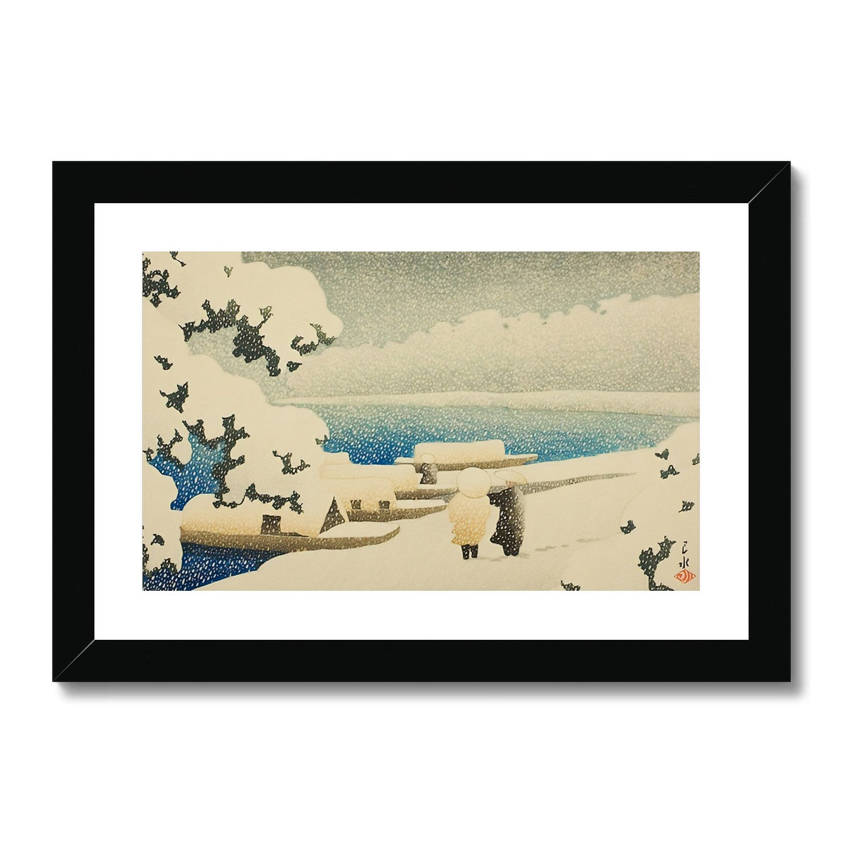 Snow at Amanohashidate (1921) - Framed & Mounted Print