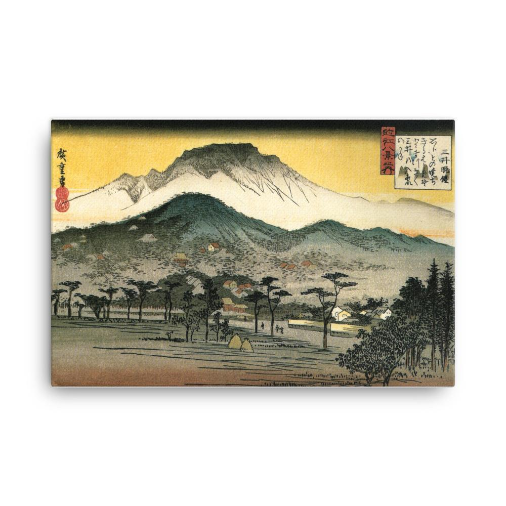 "Evening Bell at Miidera Temple-Hiroshige-Wall Art-24""x36""-Canvas-Rising Sun Prints"