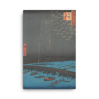 "Fireworks at Ryôgoku Bridge, from the series One Hundred Famous Views of Edo (1857)-Hiroshige-12""x18""-Canvas Wrap-Rising Sun Prints"